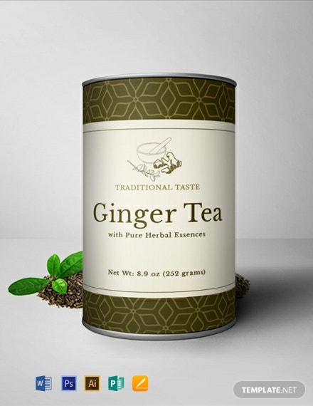 Ginger Tea Bottle Label Template