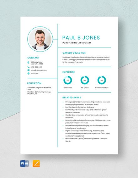 Purchasing Associate Resume Template