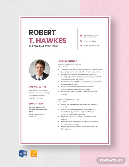 Purchasing Executive Resume Template