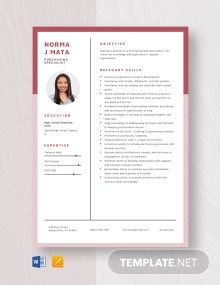 Purchasing Specialist Resume Template