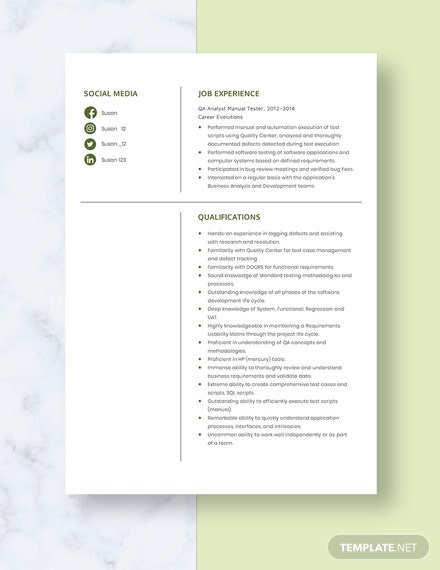 QA Analyst Manual Tester Resume Template