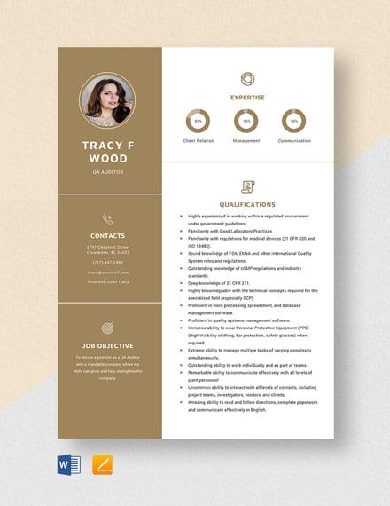 QA Auditor Resume Template