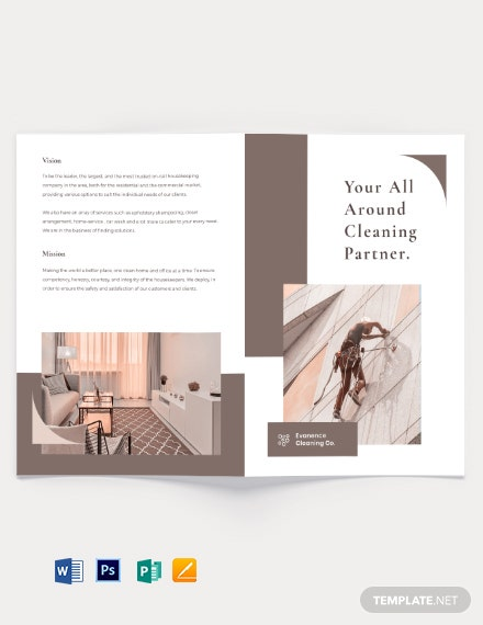 Sample Cleaning Bi-Fold Brochure Template