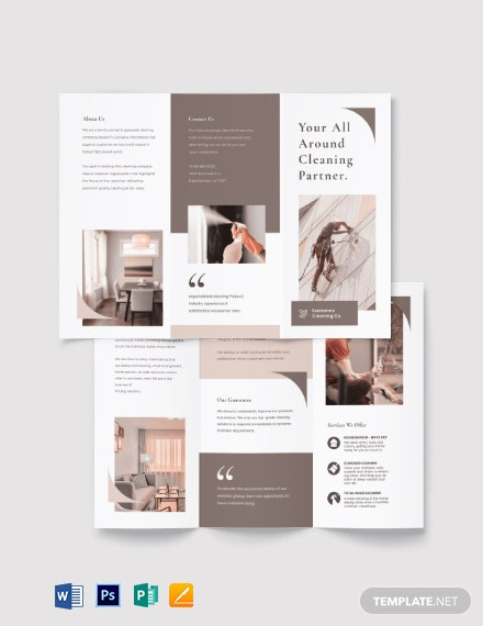 sample cleaning tri fold brochure template