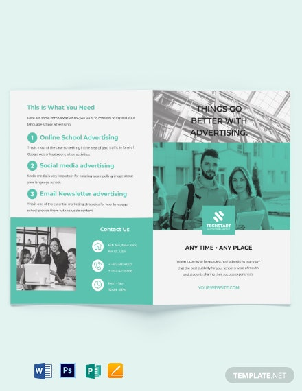 School Advertising Bi-fold Brochure Template