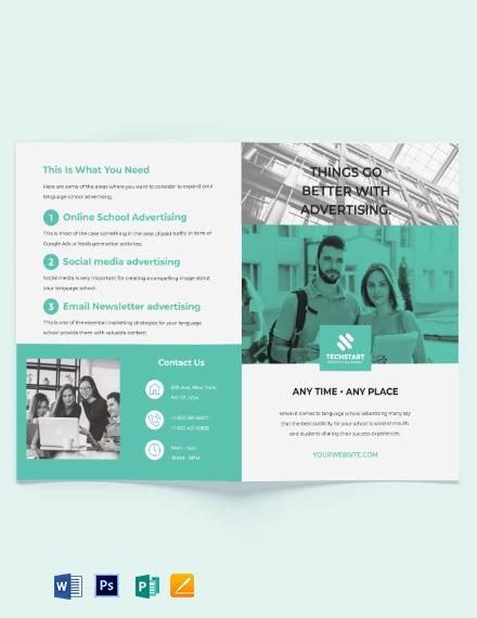 School Advertising Bi-fold Brochure Template