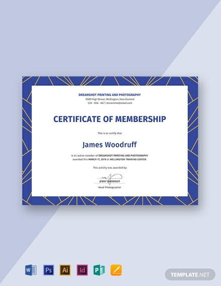 free membership certificate template  download 570