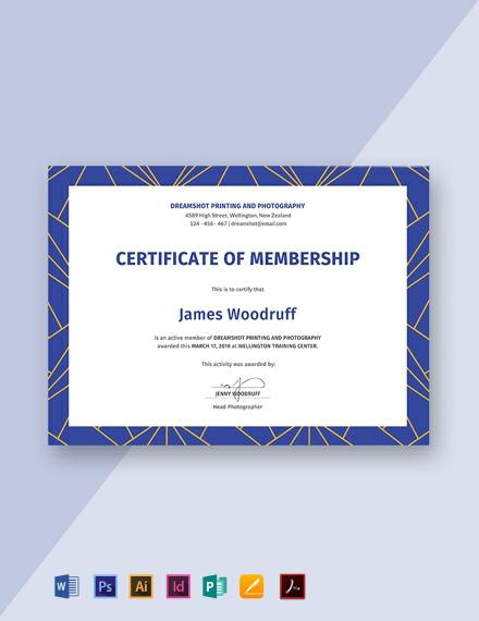 Free Membership Certificate Template