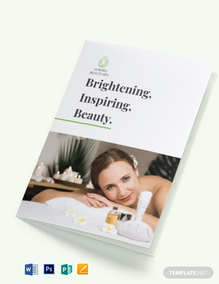 spa service bi fold brochure template