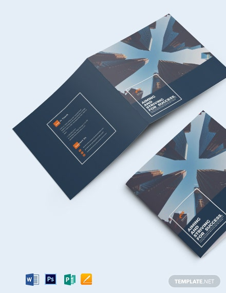 Square Company Profile Bi-fold Brochure Template