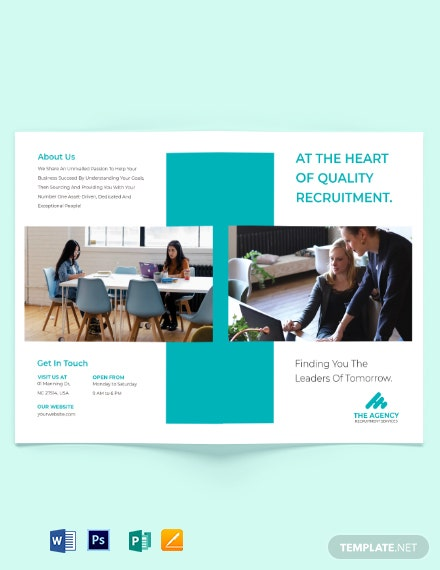 staffing recruitment agency bi fold brochure template 1