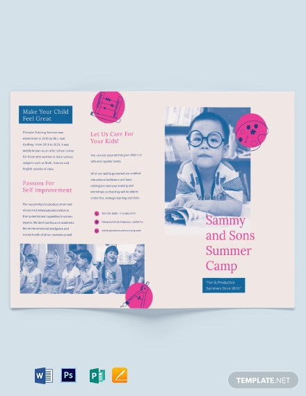 Summer school Bi-fold Brochure Template