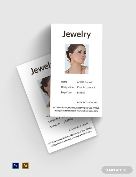 Free Jewelry ID Card Template