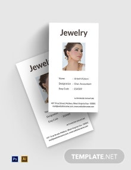 Free Jewelry ID Card Template