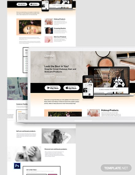 Beauty App PSD Landing Page Template
