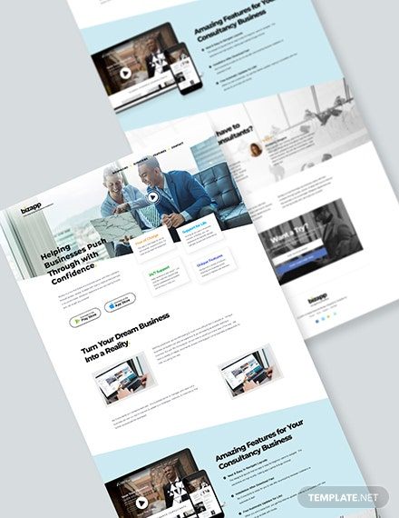 Consulting App PSD Landing Page Download