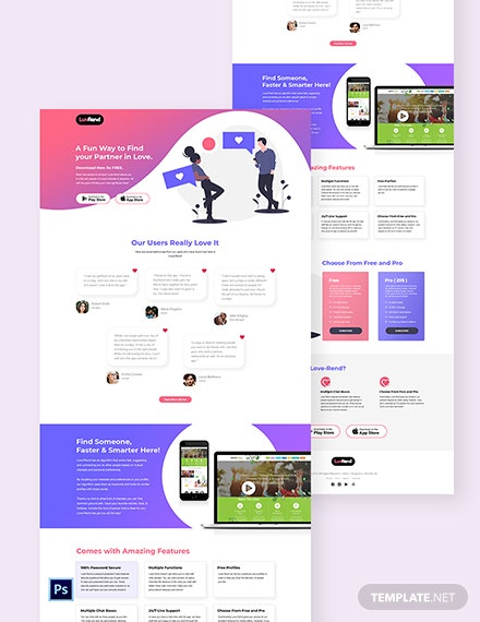 Dating App PSD Landing Page Template
