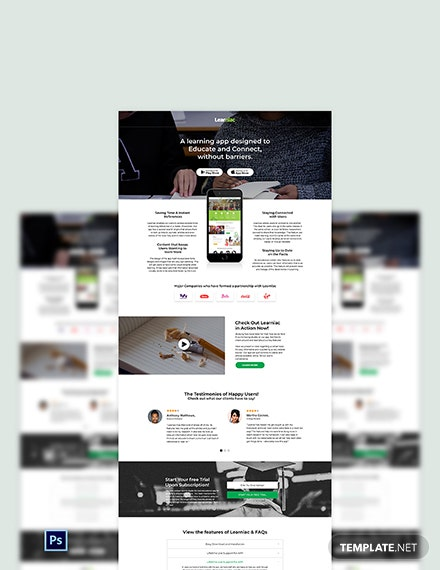 Education App PSD Landing Page Template