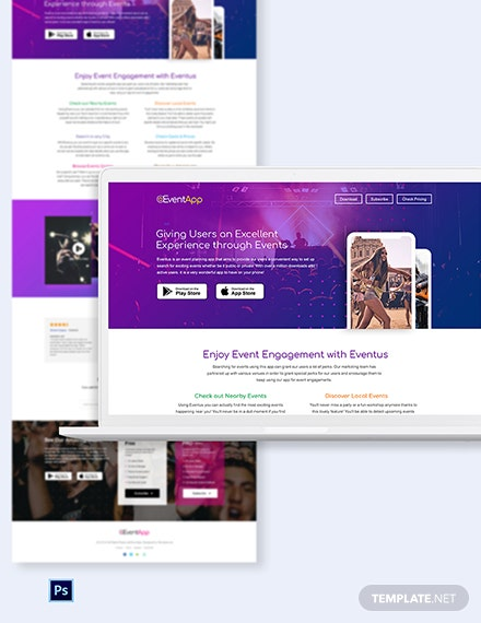 Events App PSD Landing Page Template