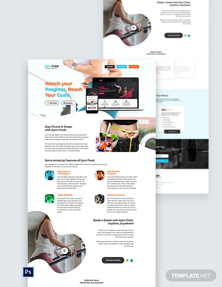 Fitness App PSD Landing Page Template