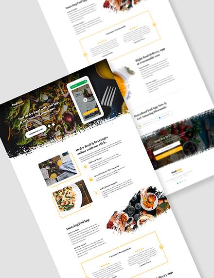 Food App PSD Landing Page  Download
