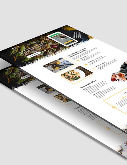 Sample Food App PSD Landing Page