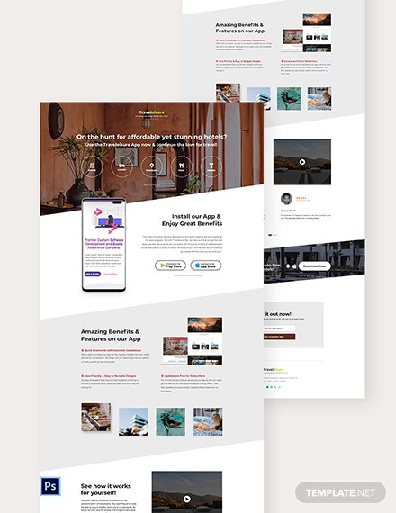 Hotel App PSD Landing Page Template