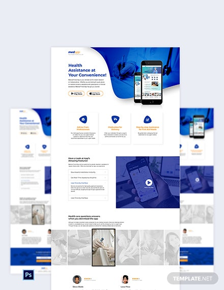 Medical App PSD Landing Page Template