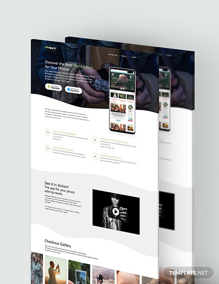 Photography App PSD Landing Page Download