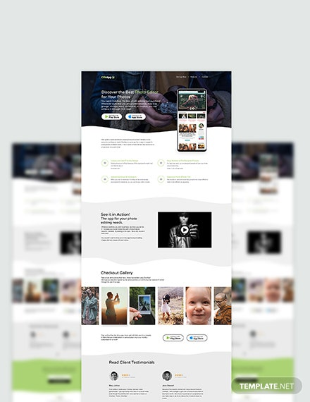 Sample Photography App PSD Landing Page