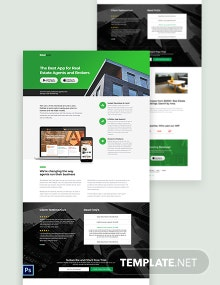 Real Estate App PSD Landing Page Template