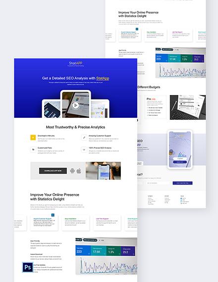 SAAS App PSD Landing Page Template