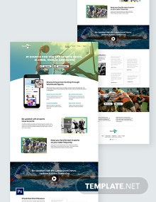 Sports App PSD Landing Page Template