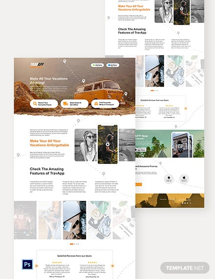 Travel App PSD Landing Page Template