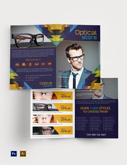 Free Optical Store Bi-Fold Brochure Template