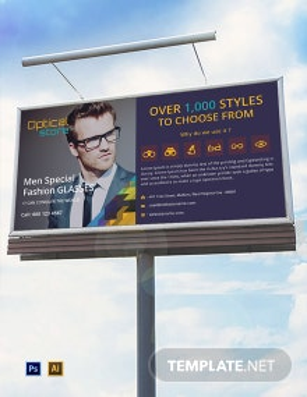 Free Optical Store Billboard Template