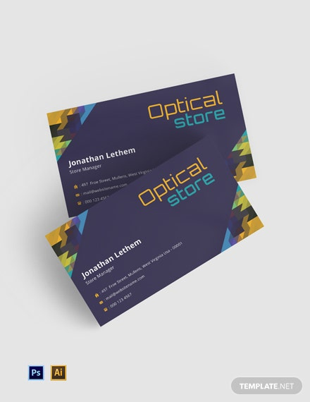 Free Optical Store Business Card Template