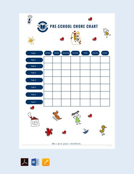 Free Preschool Chore Chart Template