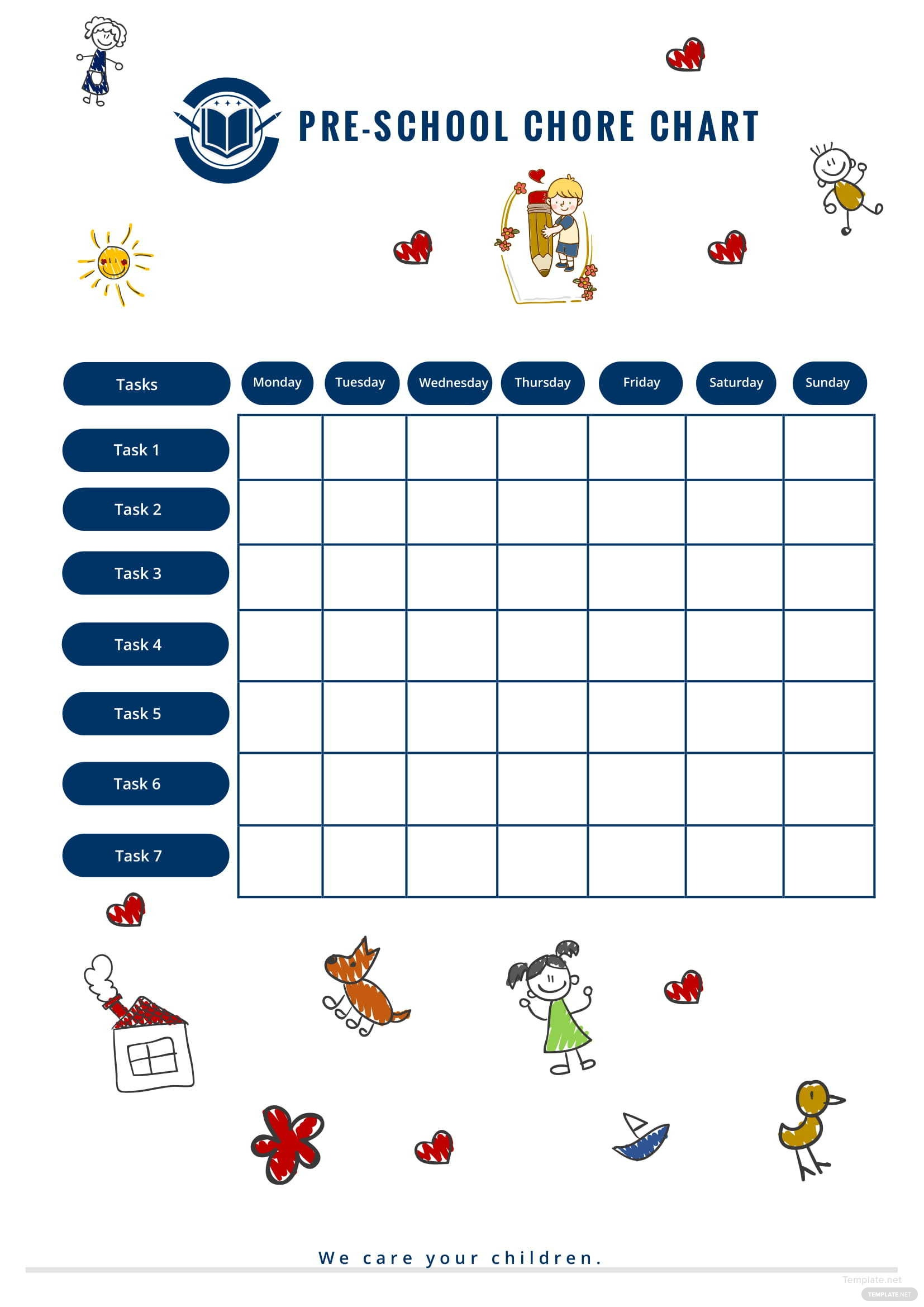preschool chore chart template in microsoft word
