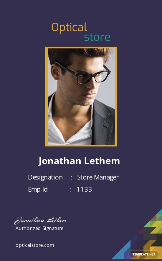 Optical Store ID Card Template