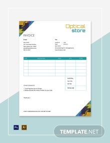 Free Optical Store Invoice Template