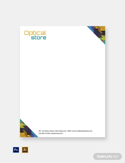 Free Optical Store Letterhead Template