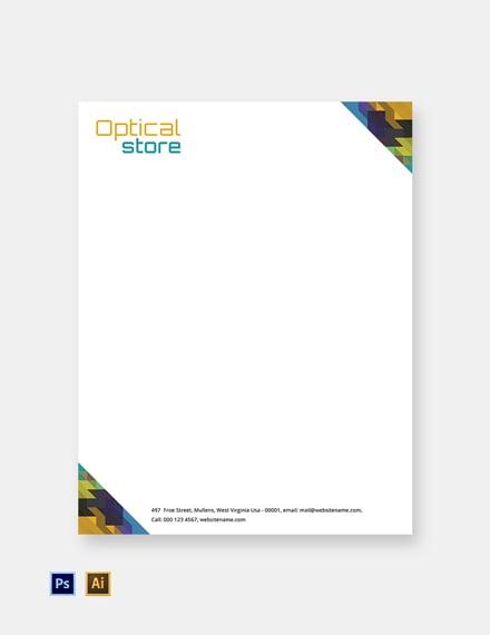 Free Optical Store Letterhead Template