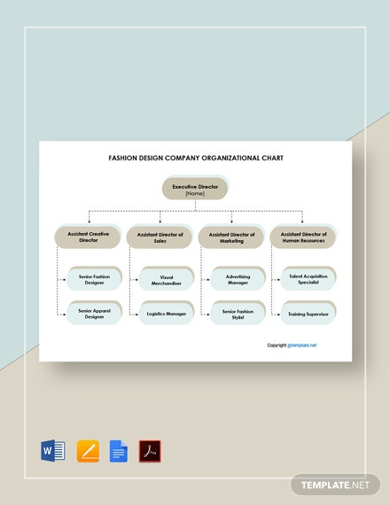 Free Fashion Design Company Organizational Chart Template