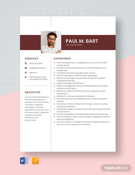 QA Supervisor Resume Template