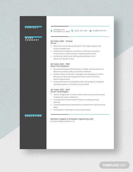 Qa Tester Resume Template Word Doc Apple Mac Pages