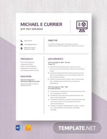 QTP Test Engineer Resume Template