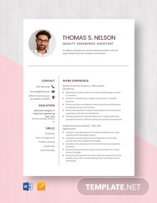Quality Assurance Assistant Resume Template