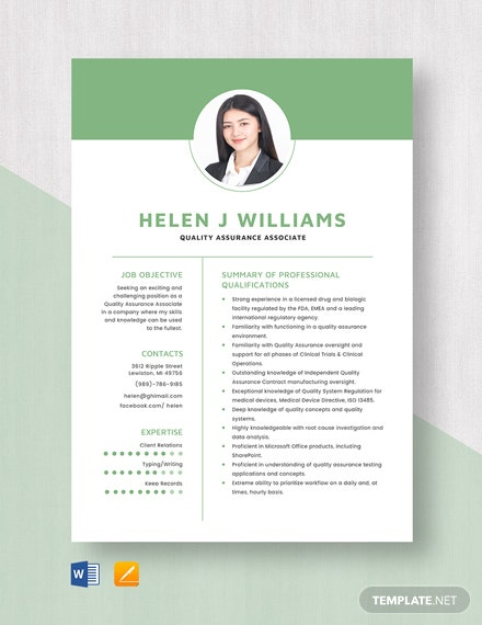 Quality Assurance Associate Resume Template