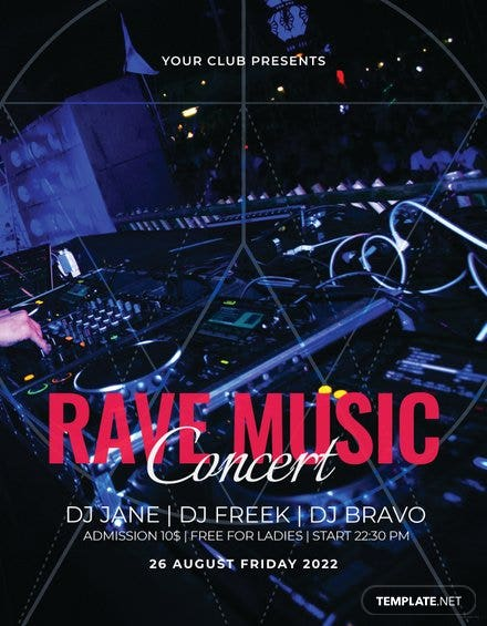 Rave Music Concert Flyer Template